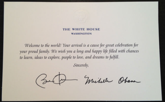 Obama trying to get Henrys vote – Birthday Card from White House